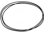 白黒の手書き風の楕円形のフレーム飾り枠イラスト