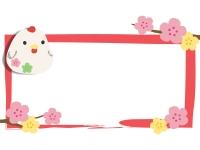 にわとりの置物と梅の筆線四角フレーム飾り枠イラスト