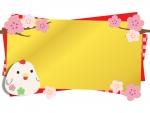 にわとりの置物と梅の金色フレーム飾り枠イラスト