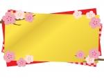 梅と金色と赤色の和風フレーム飾り枠イラスト