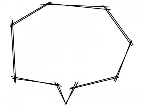 白黒の手書きの角ばった吹き出しフレーム飾り枠イラスト