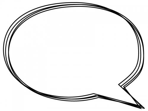 白黒の手書きの吹き出しフレーム飾り枠イラスト