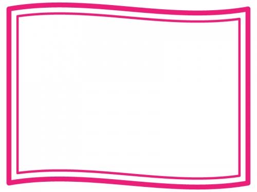 なびいた旗のフレーム飾り枠イラスト05