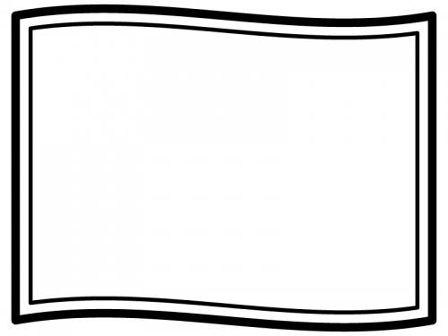 なびいた旗の白黒フレーム飾り枠イラスト03