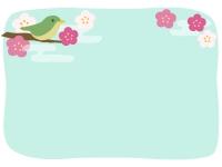 ウグイスと梅と霞の和風フレーム飾り枠イラスト
