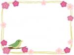 ウグイスと梅の和風筆線フレーム飾り枠イラスト