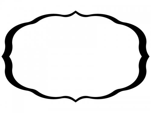 白黒のシンプルな飾り罫線のフレームイラスト02