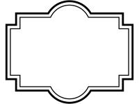 白黒のラベル風デザイン飾り枠フレームイラスト