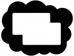 白黒のモコモコしたフレーム飾り枠イラスト