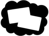 白黒のモコモコしたフレーム飾り枠イラスト02