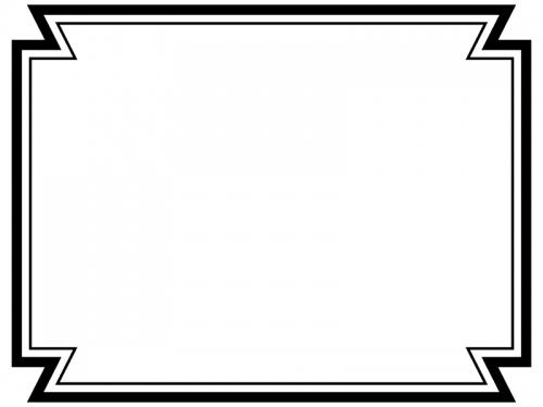 白黒の二重線の多角形フレーム飾り枠イラスト