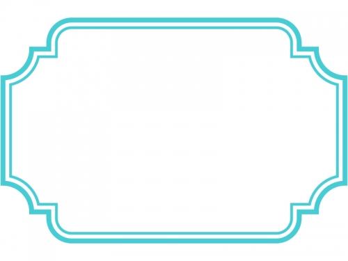 二重線の多角形フレーム飾り枠イラスト03