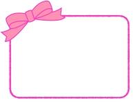 ピンクのリボンの手書き線フレーム飾り枠イラスト
