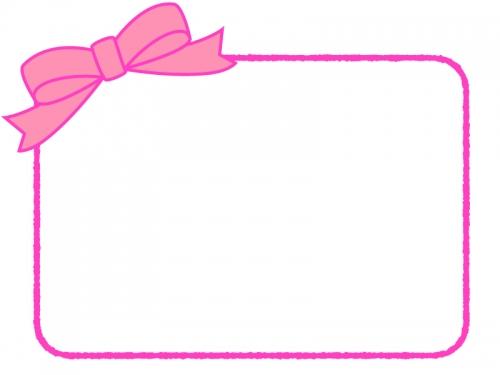 ピンクのリボンの手書き線フレーム飾り枠イラスト 無料イラスト
