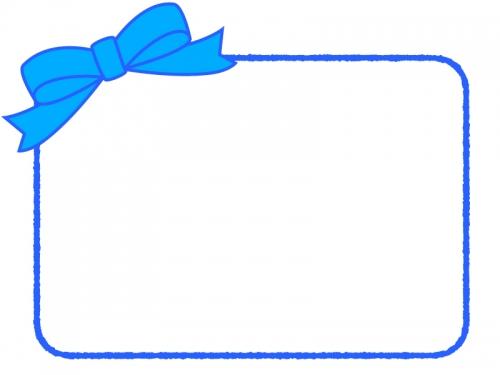 青いリボンの手書き線フレーム飾り枠イラスト