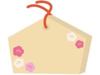 梅の花の絵馬のフレーム飾り枠イラスト