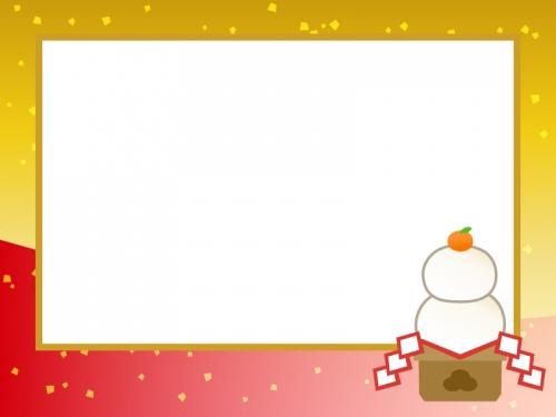 鏡餅と金箔のお正月フレーム飾り枠イラスト