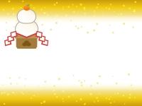 鏡餅と上下金箔のお正月フレーム飾り枠イラスト