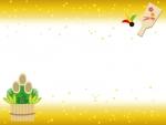 羽子板と門松の上下金箔のお正月フレーム飾り枠イラスト