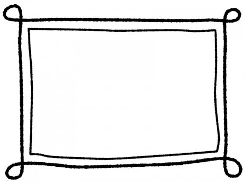 白黒の手書き風のシンプルなフレーム飾り枠イラスト04