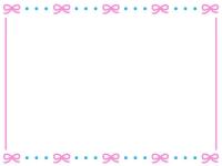 ピンクのリボンが並んだかわいいフレーム飾り枠イラスト