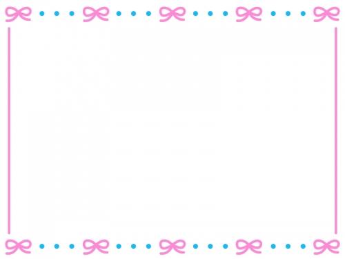 ピンクのリボンが並んだかわいいフレーム飾り枠イラスト 無料イラスト