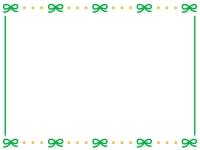 緑のリボンが並んだかわいいフレーム飾り枠イラスト