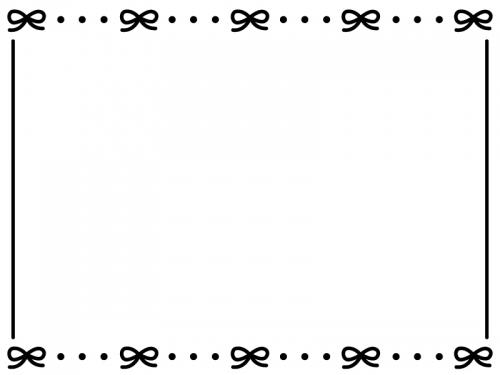 白黒のリボンが並んだかわいいフレーム飾り枠イラスト
