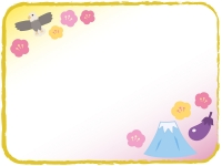 一富士二鷹三茄子のお正月フレーム飾り枠イラスト
