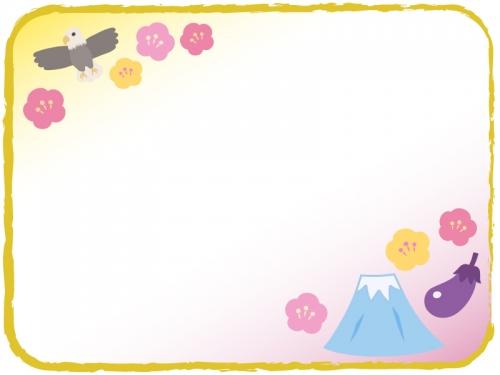 一富士二鷹三茄子の和風お正月フレーム飾り枠イラスト 無料イラスト