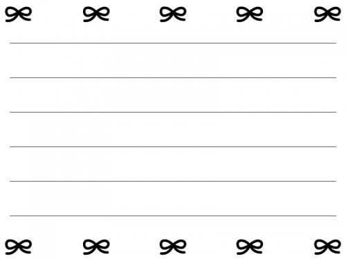 白黒のリボンの便箋フレーム飾り枠イラスト02