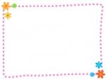 小花の点線フレーム飾り枠イラスト