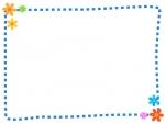 小花の点線フレーム飾り枠イラスト02