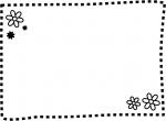 白黒の小花の点線フレーム飾り枠イラスト