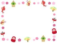 お正月・年賀の縁起物の囲みフレーム飾り枠イラスト