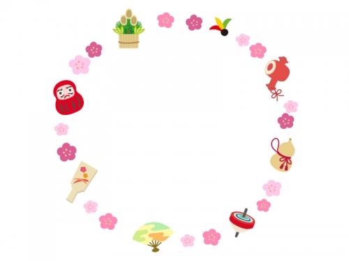 お正月年賀の縁起物の円形フレーム飾り枠イラスト 無料イラスト