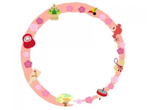 お正月年賀の縁起物の筆線円形フレーム飾り枠イラスト 無料イラスト