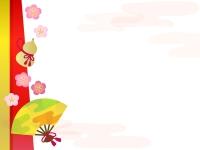扇子とひょうたんと梅のお正月フレーム飾り枠イラスト