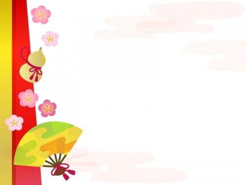 扇子とひょうたんと梅のお正月フレーム飾り枠イラスト 無料