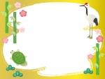 鶴と亀と松竹梅の金色お正月フレーム飾り枠イラスト