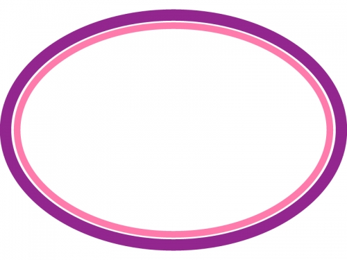 シンプルな楕円の線フレーム飾り枠イラスト03