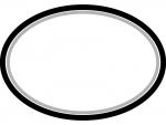 白黒のシンプルな楕円の線フレーム飾り枠イラスト02