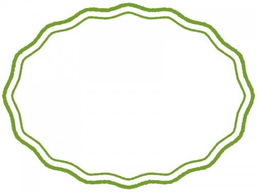 手書き風の波線の楕円フレーム飾り枠イラスト