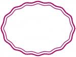 手書き風の波線の楕円フレーム飾り枠イラスト02