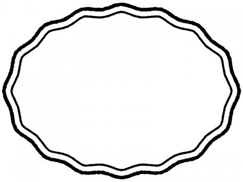 白黒の手書き風の波線の楕円フレーム飾り枠イラスト
