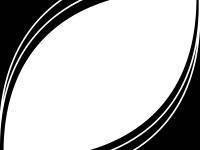 白黒の斜め楕円の線フレーム飾り枠イラスト
