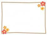 小花のシンプルフレーム飾り枠イラスト