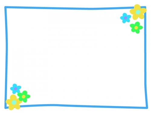 小花のシンプルフレーム飾り枠イラスト02 無料イラスト かわいいフリー