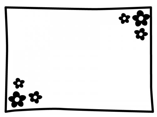 白黒の小花のシンプルフレーム飾り枠イラスト