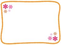 手書き線の小花フレーム飾り枠イラスト